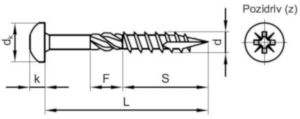 MAXXFAST univerzální vrut do dřeva s válcovou vypouklou hlavou s křížovou drážkou Ocel Pozinkované 5X25MM (21)