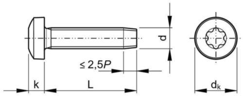 TAPTITE 2000® Șurub autofiletant-formare filet, cap bombat & locaș Torx® DIN ≈7500-1 Oțel Zincat M6X20
