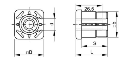 FATH Inslagdop vierkant Kunststof Polyamide (nylon) M14X40X36,5