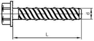 Betonschroef zeskant type BT Staal Elektrolytisch verzinkt 8X75MM