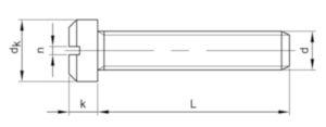 Slotted pan head screw small head DIN 920 Steel Plain 5.8 M3X3