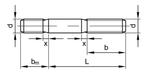 Goujon longueur d'implantation ≈ 2d DIN 835 Acier inoxydable (Inox) A2 M16X35