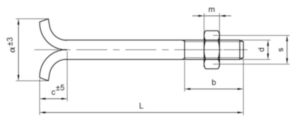 Bolțuri DIN 529C pentru ancorare în zidărie DIN 529 C Oțel Zincat 4.6 M20X300