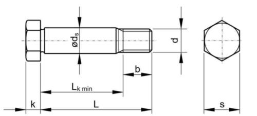 Tornillo cabeza hexagonal con rosca corta DIN 610 Acero Sin revestimiento 8.8 M24X75X47,8