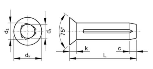 ISO 8747 Zápustný rýhovaný hřeb ISO 8747 A Oceľ Nelegovaná 3X8MM