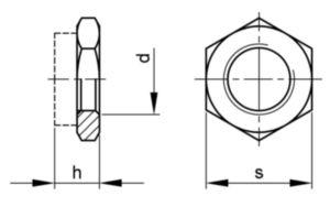 Tuerca hexagonal con flange, con inserto de plástico iso 10511 métrica ISO 10511 Acero Cincado 04 M12