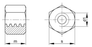 Piulițe hexagonale filet trapezoidal 1,5xD Oțel Dreapta Simplu Tr30X6