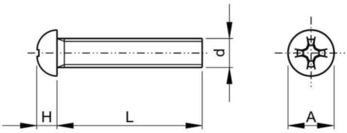 Tornillo cabeza redonda UNC asme B18.6.3 ASME B18.6.3 Acero inoxidable (Inox) A2 (AISI 304/18-8) #4-40X5/16