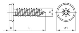 Washer pan head PZ tapping screw w/earth nibs sharp point Steel Zinc plated ST3,5X9,5MM
