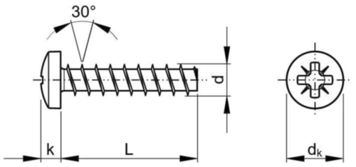 Pan head PZ screw for plastic 30° Stal nierdzewna A2 4X12MM