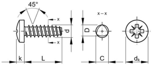 Pan head PZ screw for plastic 45° Stal Ocynkowane 3,5X12MM