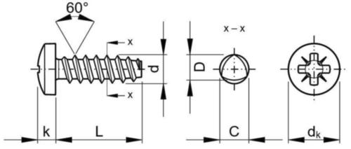 Pan head PZ screw for plastic 60° Stal Ocynkowane NO.8-16X3/4