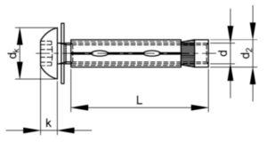 SECURITY Hexalobular socket button head sleeve anchor with pin Stal nierdzewna A2 M8X55