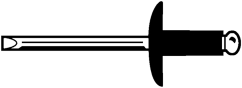 Rivet aveugle à tête plate large, ouvert Aluminium AlMg 2,5-3,5 / Acier Electro zingué 5,0X10MM dk=16