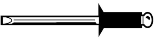 Rivet aveugle à tête fraisée, ouvert Aluminium AlMg 2,5-3,5 / Acier Electro zingué 3,2X10MM