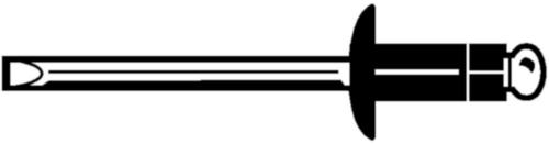 Rivet aveugle à tête plate éclates, pour matièriaux doux, ouvert Aluminium AlMg 2,5 / Aluminium AlMg 5