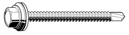 Vis autoperceuse pour toiture avec rondelle d'étanchéité élastique Acier Electro zingué 6,3X25MM