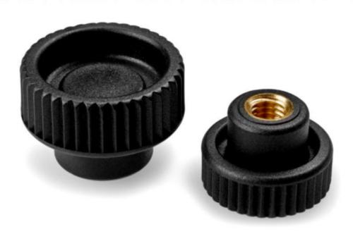 Knurled knob with brass thread insert Üvegszál-erősítésű műanyag menetes persellyel