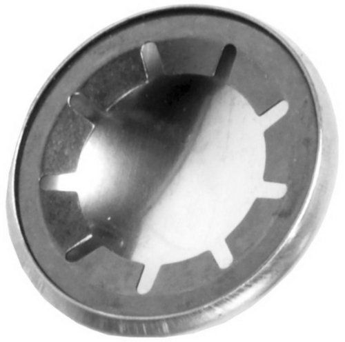 Push-on fixing washer for shafts, with cap type A Spring steel