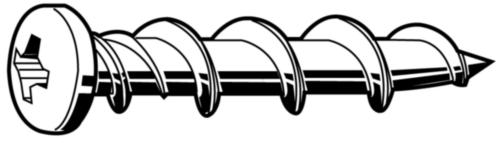 Anchoring screw round head  Steel  Zinc plated  white head