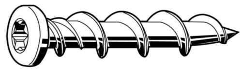 Anchoring screw round head  Steel  Zinc plated