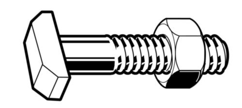 T-head bolt with nut DIN 261/555 Steel Plain 4.6