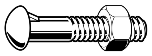 Cup head nib bolt with hexagon nut DIN 607/555 Steel Plain 4.6