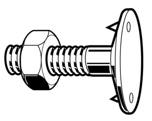 Mushroom head anchor bolts with nut