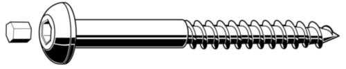 Șuruburi pentru lemn cu cap cilinidric cu dop Oțel Zincat with plug 10X130MM