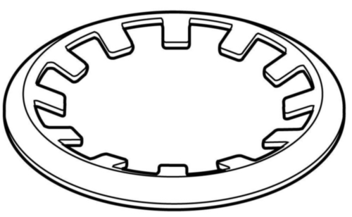 Push-on retaining ring with lugs for shafts Spring steel