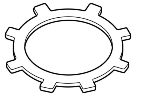 Push-in retaining ring with lugs for bores Spring steel