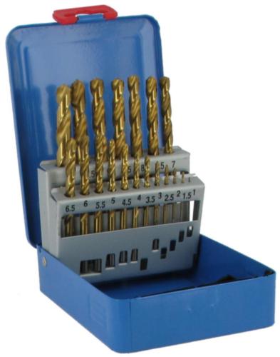 Fabory Jobber drill set DIN 338 RN HSSG TiN 1-10 19PC HSSG TIN CASS