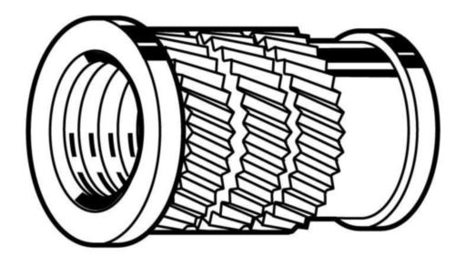 Thread insert for plastic, Broach-Fix, headed Brass