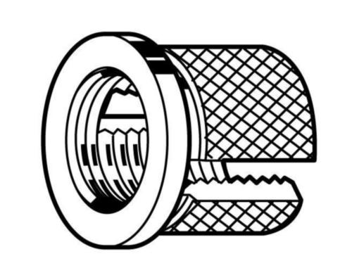 Inserts voor kunststof met flens, type Expansion Messing