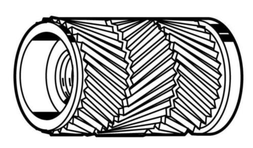 Inserts voor kunststof, type Flow Messing CU2/CU3