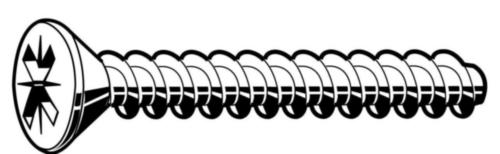 Countersunk PZ screw for plastic 60°  Steel  Zinc plated