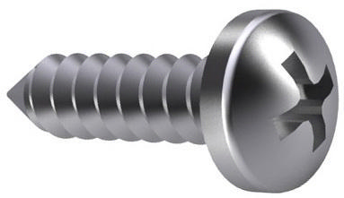 Cross recessed pan head tapping screw Phillips DIN 7981 C-H Steel Nickel plated ST2,9X19MM